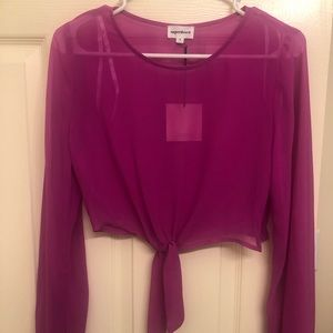 Long sleeve sheer crop top